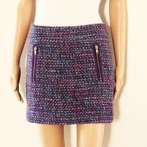 J.CREW skirt sz 2 wool blend tweed mini zipper
